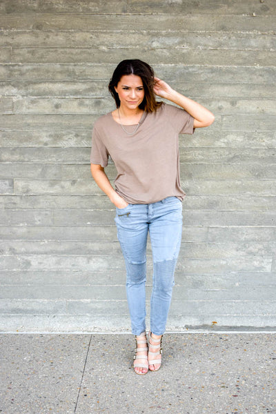 Mocha tee with chain detail