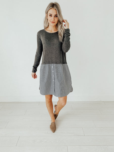 Cornell Shirt Dress in Grey