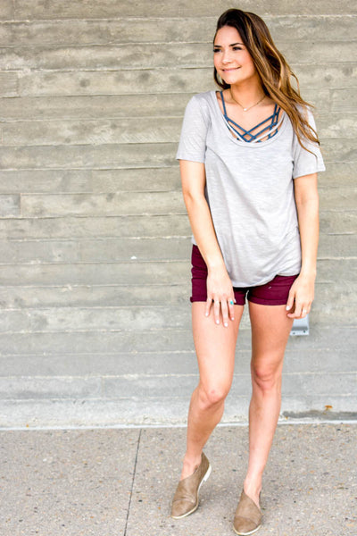 grey strappy tee shirt