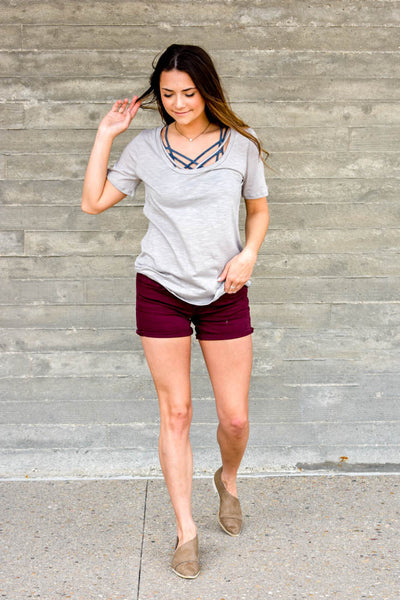 grey modal t shirt with front straps