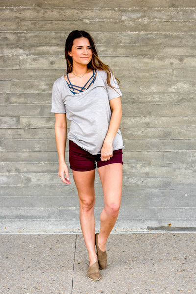 grey modal tee with cross front