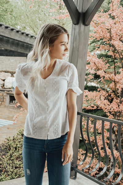 Women's White Button Down Short Sleeve Top
