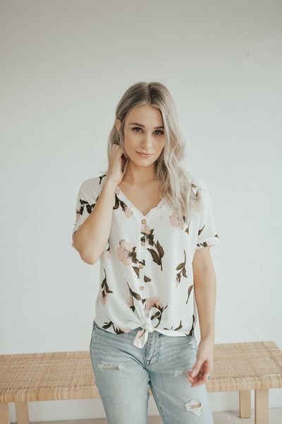 Evie Waffle Button Up Tee