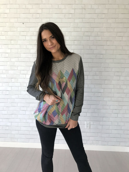 women's multi-color geometric sweater