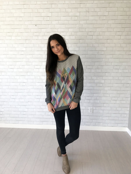 Women's geometric colorful sweater