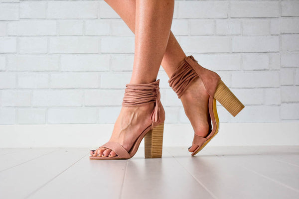 Rose heels with ankle tassles