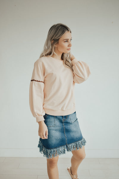 Fringe Bottom Denim Skirt