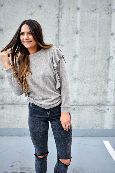 Women's grey brown ruffle shoulder sweatshirt