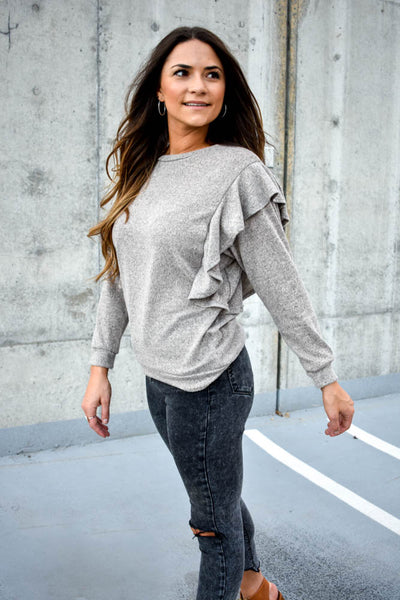 Women's gray ruffle shoulder sweater