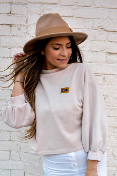 Volume sleeve sweater with mock neck in blush