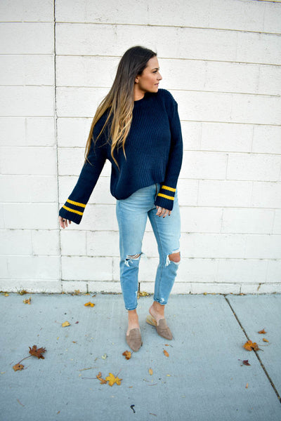 Navy varsity stripe bell sleeve women's sweater