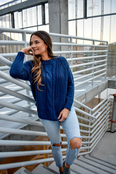 Midnight Azure Chunky Sweater