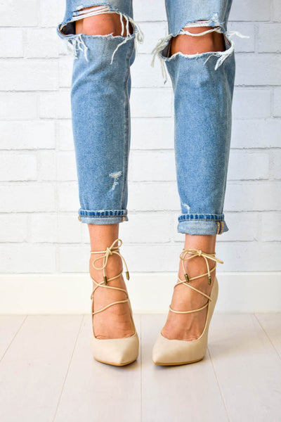 Women's nude lace up heels