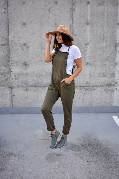 Women's olive green long pant jumper