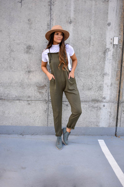 Women's soft olive green overalls