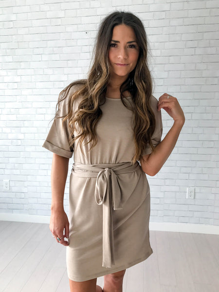 Tan double tie dress