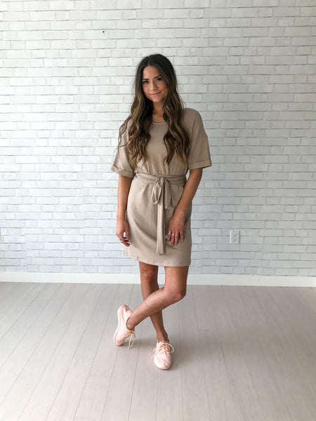 Taupe tie dress