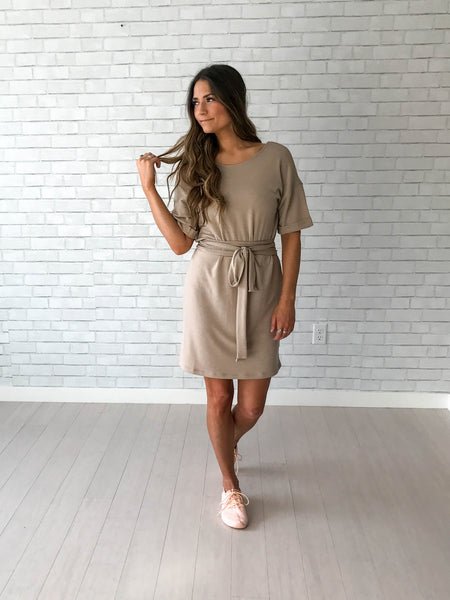 Taupe double wrap dress