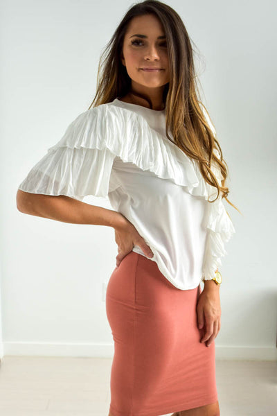 Women's white ruffle top