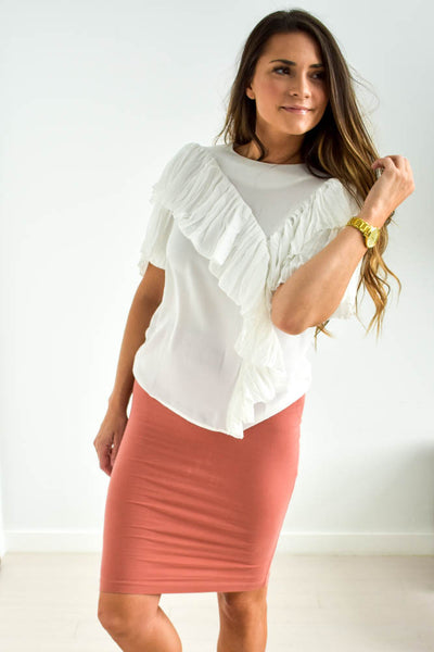 Women's white ruffle blouse