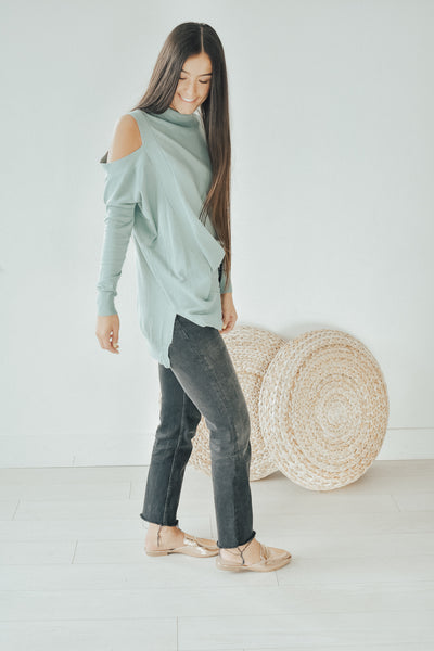 Sage Shoulder Peek Sweater
