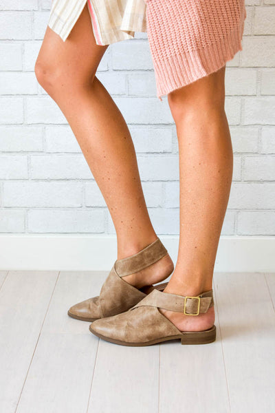 Faux Free People Brown crossover backless flats