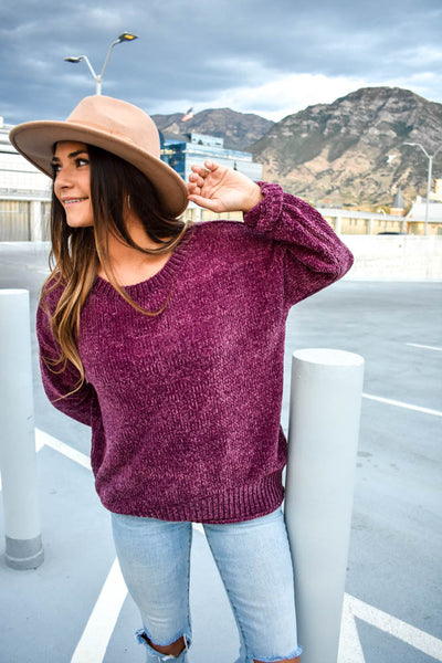 Women's soft crushed knit burgundy sweater