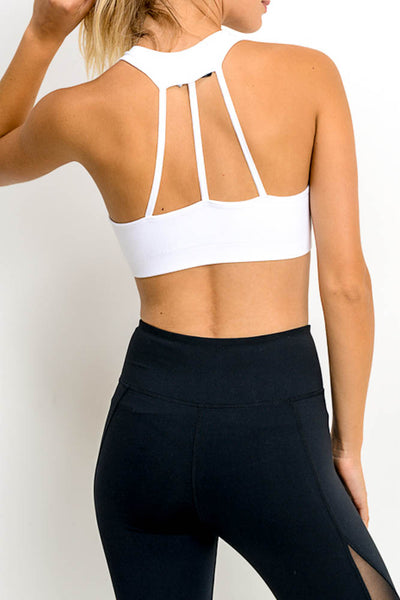 Women's white tri-strap back sports bra