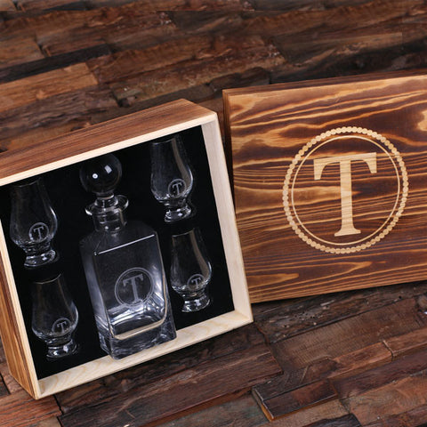 Personalized Whiskey Decanter with Round Bottle Lid, 4 Whiskey Sniffers and Wood Box
