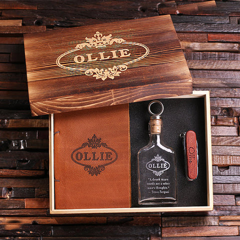 Personalized 4 pc Men's Gift Set w/Keepsake Box – Flask, Wood Swiss Knife & Leather Journal