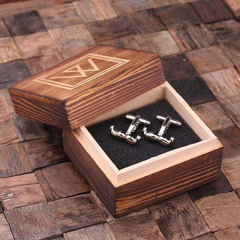 Personalized Engraved Cuff Links – Mustache with Wood Box