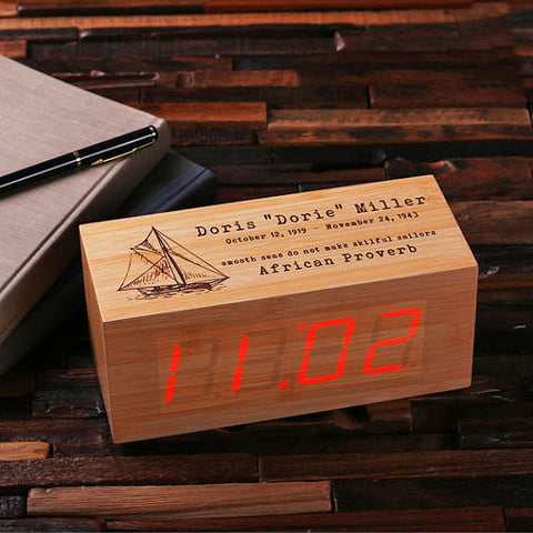 Personalized Wood Digital Clock - Rectangle