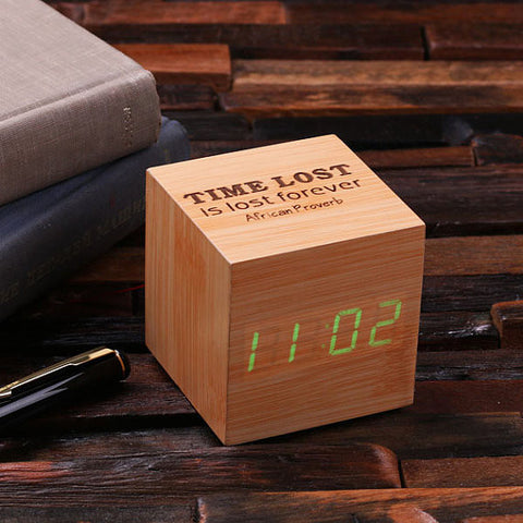 Personalized Wood Digital Clock – Cube