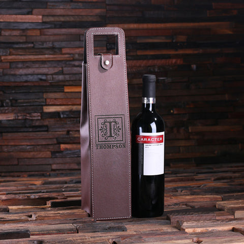 Personalized Single Bottle Wine Holder/Pouch - Black or Brown