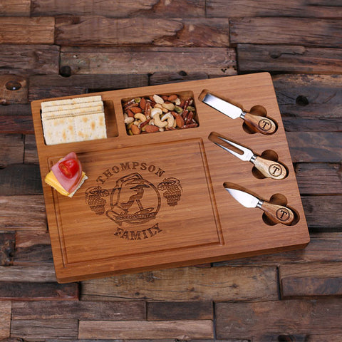Personalized Bamboo Wood Cutting Bread Cheese Serving Tray Board with Tools – C