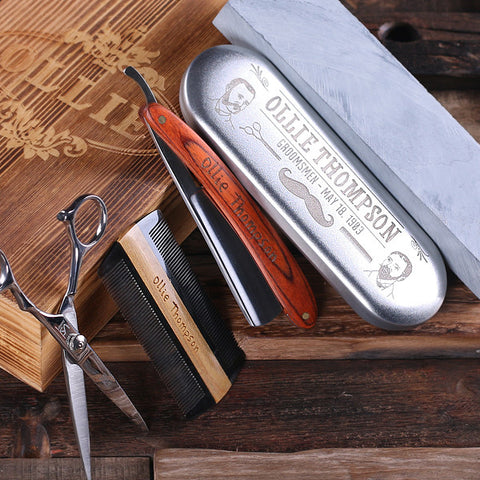 Personalized Straight Razor Blade, Wood Comb, Scissors & Sharpening Stone