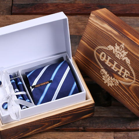 Personalized Tie Clip, Tie and Wood Box Father's Day Gift