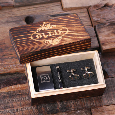 Personalized Gentleman's Gift Set Cuff Links, Money Clip, Tie Clip and Wood Box