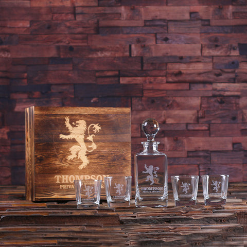 Personalized Whiskey Decanter with Global Bottle Lid, 4 Whiskey Glasses and Wood Box – A