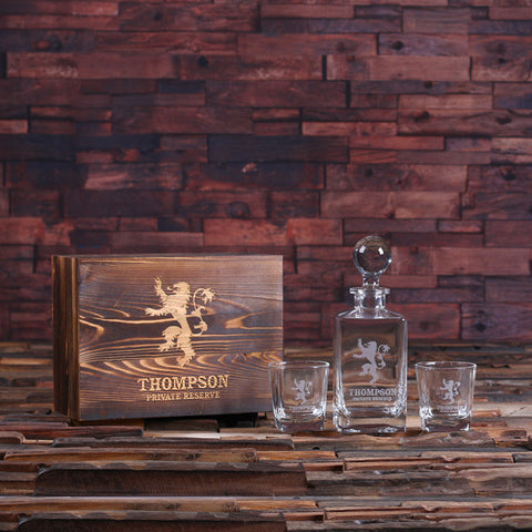 Personalized Whiskey Decanter with Round Bottle Lid, 2 Whiskey Glasses and Wood Box – A