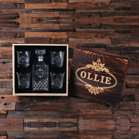 Personalized Whiskey Decanter, 4 Whiskey Glasses and Wood Box