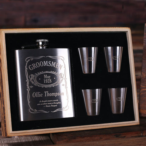 Personalized 7 oz Steel Metal Whiskey Flask, 4 Steel Metal Glasses and Wood Box