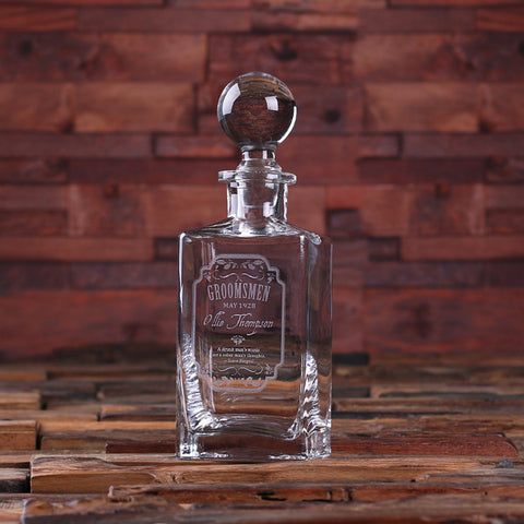 Personalized Whiskey Decanter with Round Bottle Lid and Wood