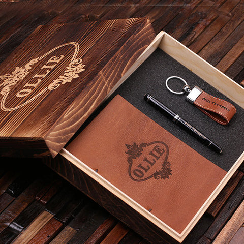 Personalized 4 pc Men's Gift Set w/Keepsake Box – Journal, Key Chain, Pen