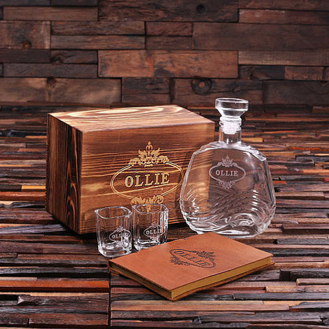 Personalized 4 pc Men's Gift Set w/Keepsake Box – Decanter, Shot Glasses, Journal