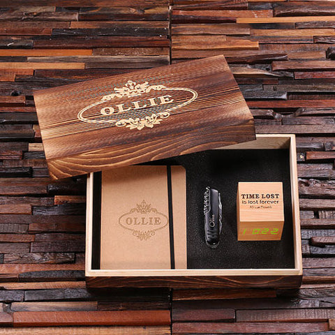 Personalized 4 pc Men's Gift Set w/Keepsake Box – Digital Clock, Knife, Journal