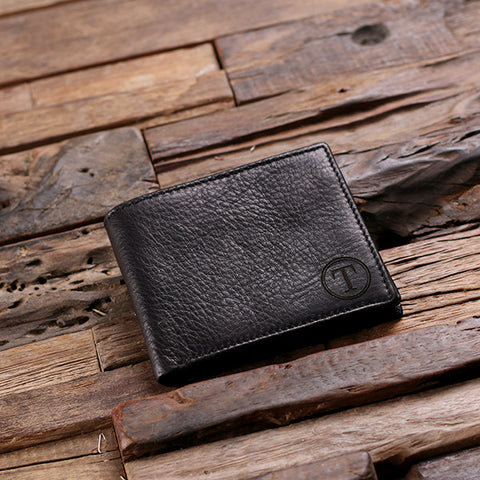 Coin Wallet Personalized Monogrammed Engraved Leather Bifold Mens Wallet Zipper with Box