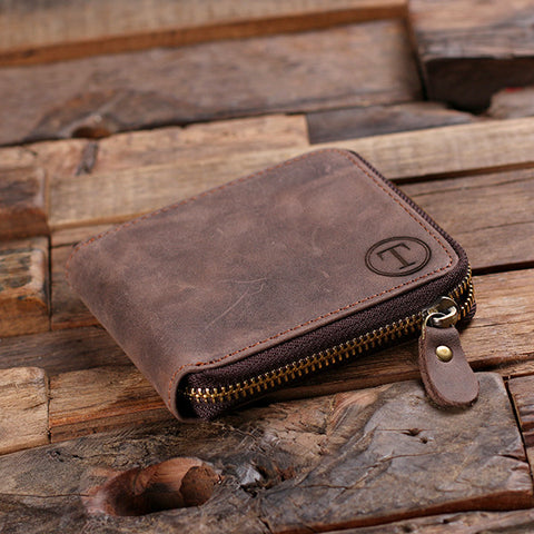 Coin Wallet Personalized Monogrammed Engraved Zipped Closed Leather Bifold Mens Wallet without Box
