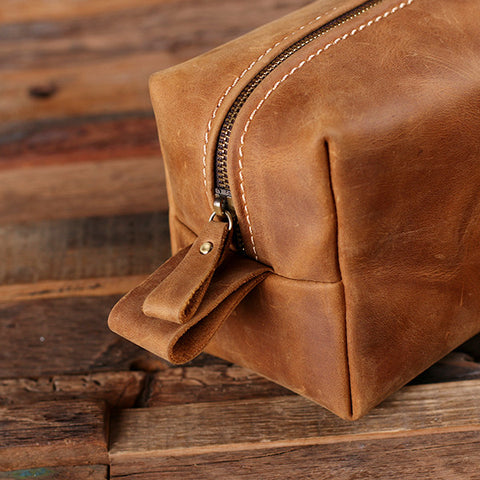Personalized Leather Toiletry Bag, Dopp Kit, Leather Shaving Kit