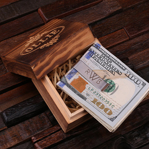 Personalized Monogrammed Money Clip – Polished Stainless Steel with Wood Box